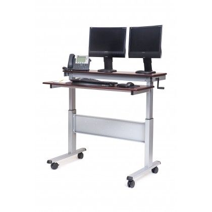 Get The Health Benefits Of An Adjustable Height Stand Up Desk With This Two Tier Shelf Design Stand Up Desk Ikea Standing Desk Adjustable Height Standing Desk