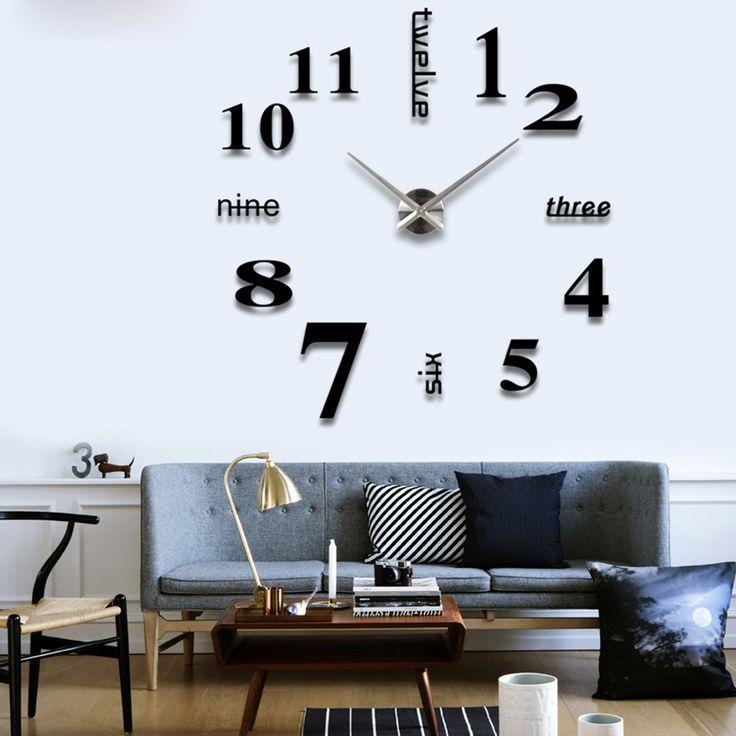 Flylinktech diy horloge murale grande moderne pendule créative stickers muraux pour décoration salon maison argent noir amazon fr cuisine maison