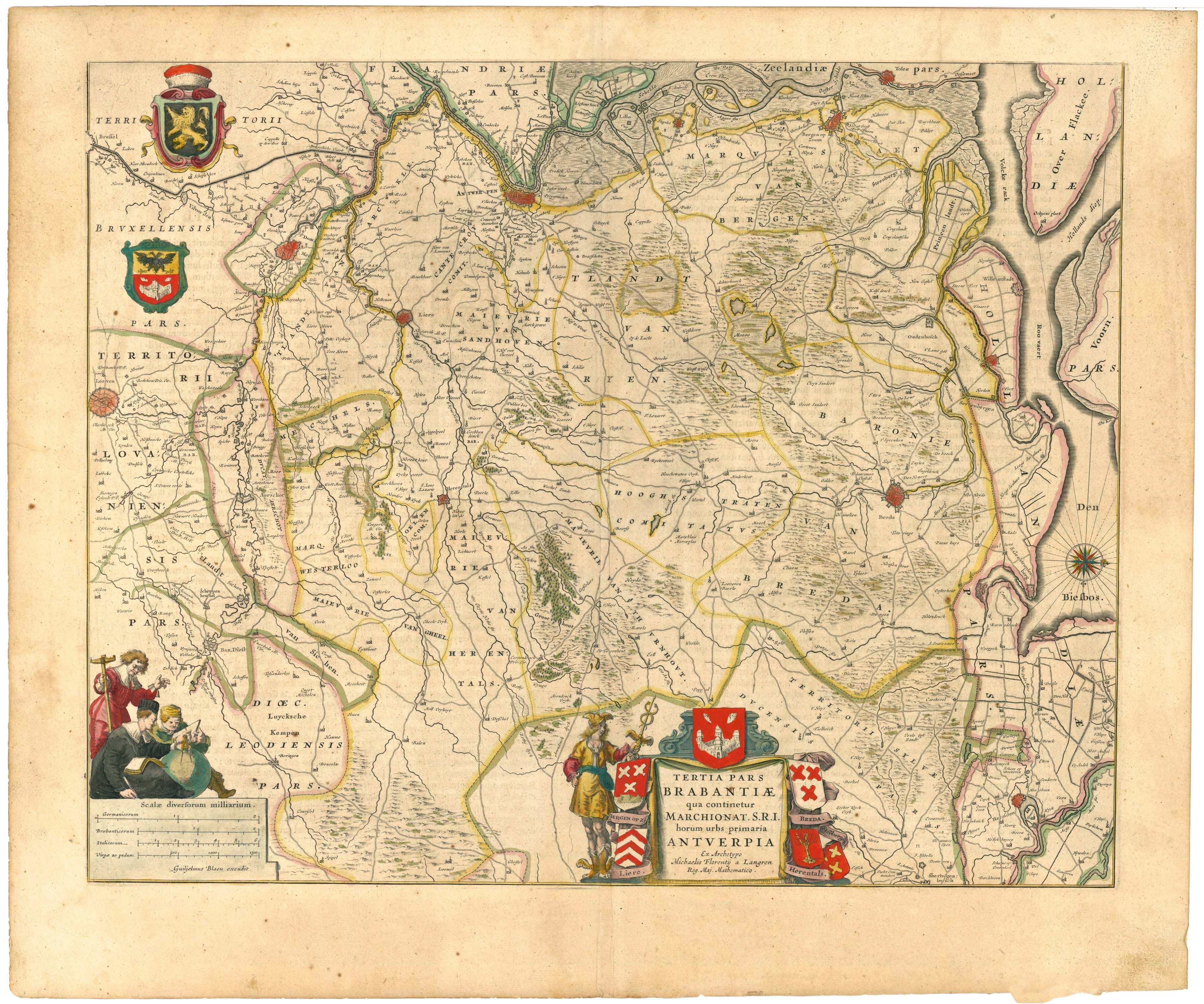 North Brabant Province of The Netherlands by Blaeu 1645 History In
