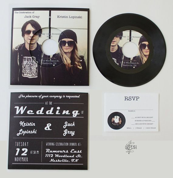 25 Best Non Traditional Processional Songs: Custom 7in Vinyl Record Wedding Invitation / 45 Rpm