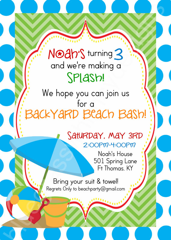 First Birthday Party Invitation Pool PartyBeach theme You Print – Beach Themed Party Invitations