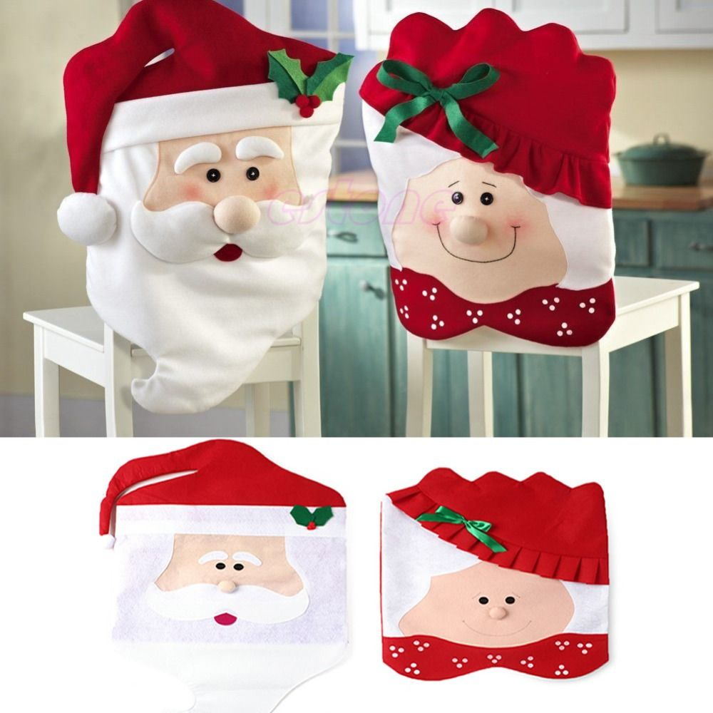 1pc Lovely Christmas Chair Covers Mr Mrs Santa Claus Decoration Dining Room Cover