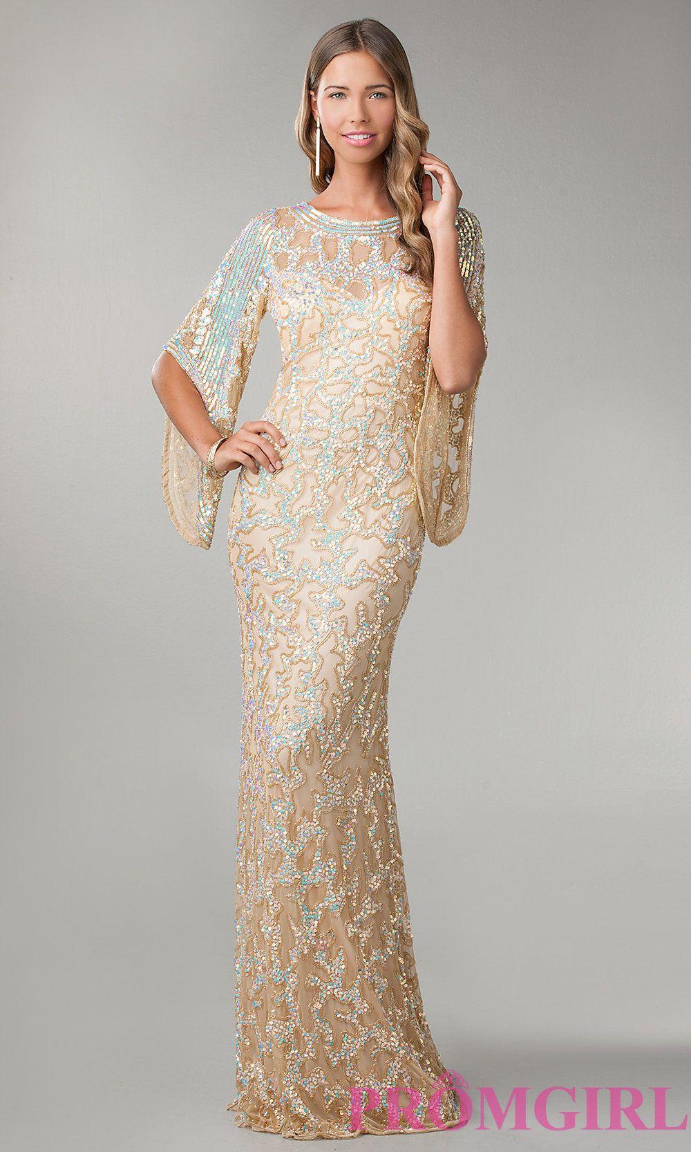 Long-Sleeve Bateau-Neck Sequin Prom Dress - PromGirl