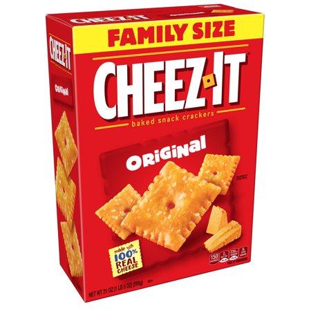 Cheez It Baked Snack Cheese Crackers Original Family Size 21 Oz Walmart Com Cracker Snacks No Bake Snacks Cheez It