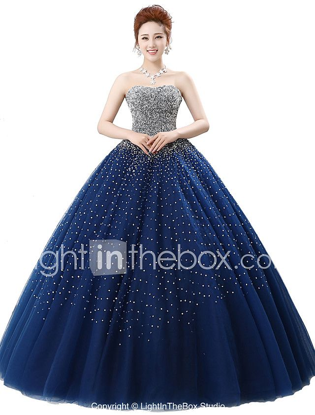 Ball Gown Strapless Floor Length Satin Tulle Stretch Satin Sequined