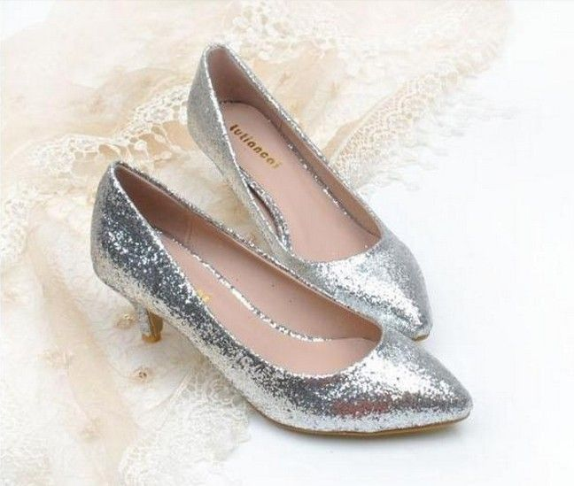 silver low heel pumps | pointed toe silver black gold glitter ...