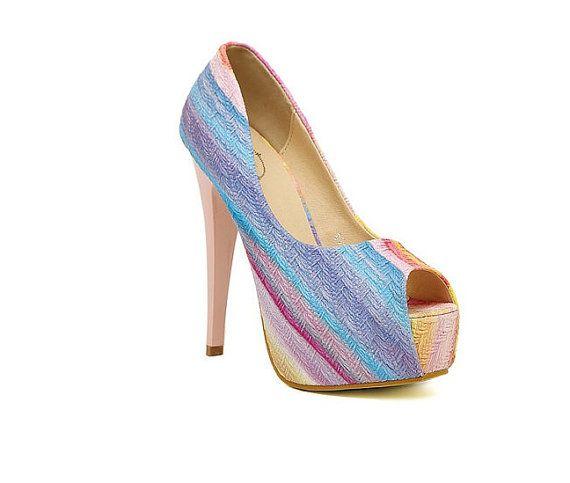 Blue  Handmade  Toe Wedding Heel  ,Suede Wedding Shoes , Stiletto shoes,Bridal Shoe,Wedding Shoes with Chunky Heel on Etsy, $35.00