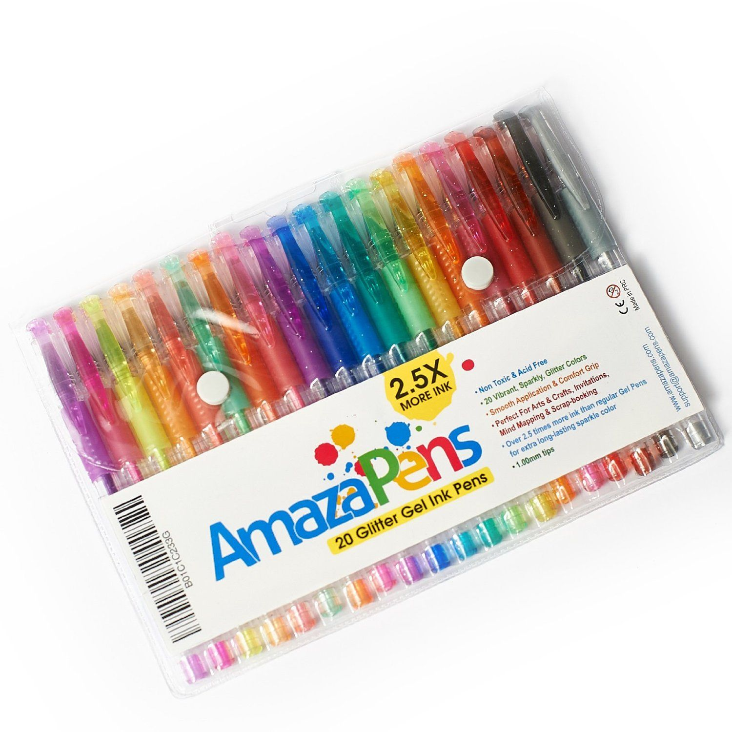 Amazon Com Amazapens Gel Pens 20 Pack Super Glitter 150 More Ink Than Other Sets Best For Adding Sparkle To Your Gel Pens Glitter Pens Art Pen And Paper
