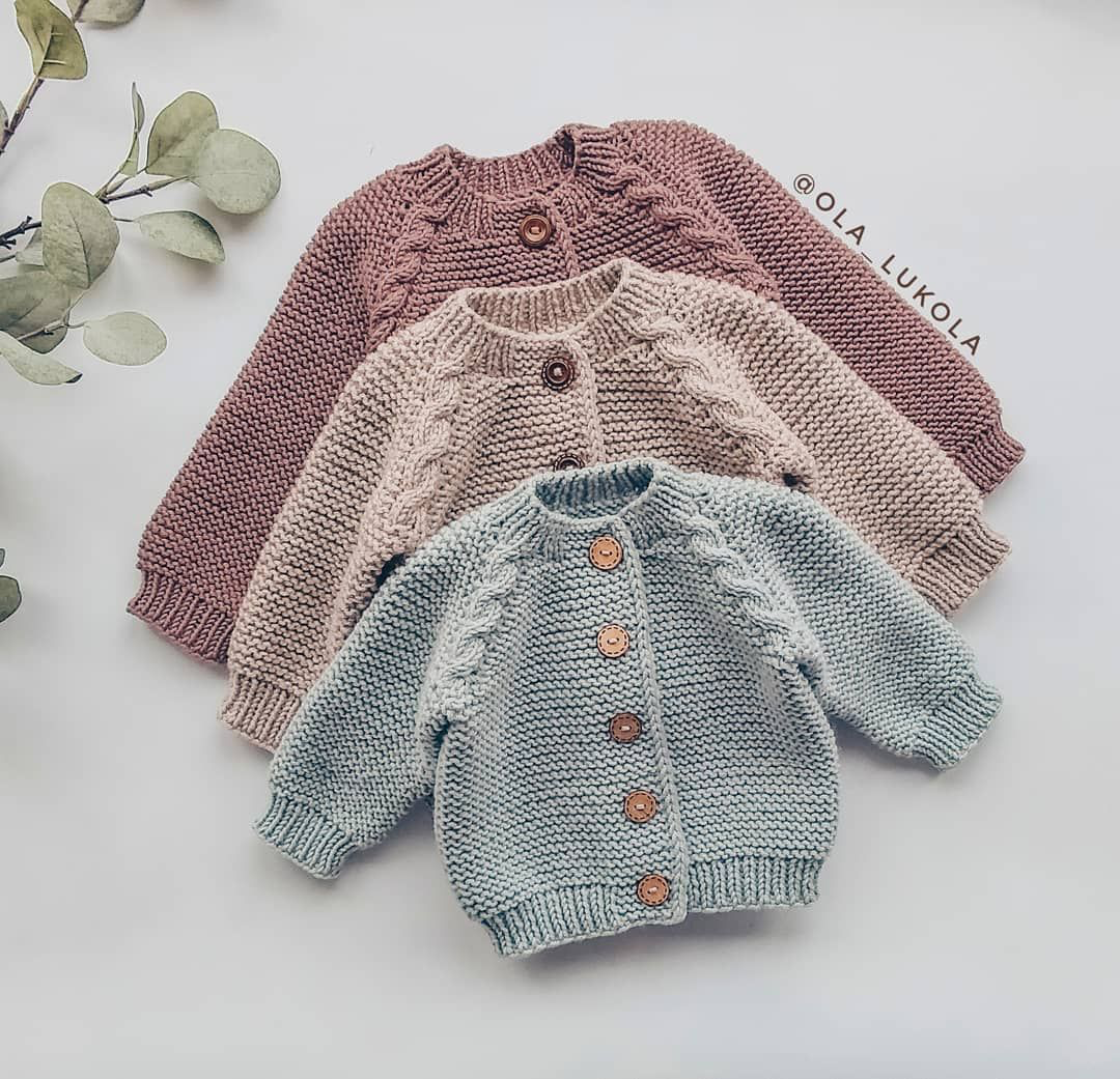 ENGLISH KNITTING Pattern for Beginners Sweater Jumper Basic Baby Cardigan Toddle…