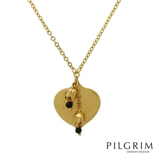 PILGRIM SKANDERBORG, DENMARK Attractive Brand New Heart Necklace Beautifully Crafted in Yellow Base metal and Black Plastic.