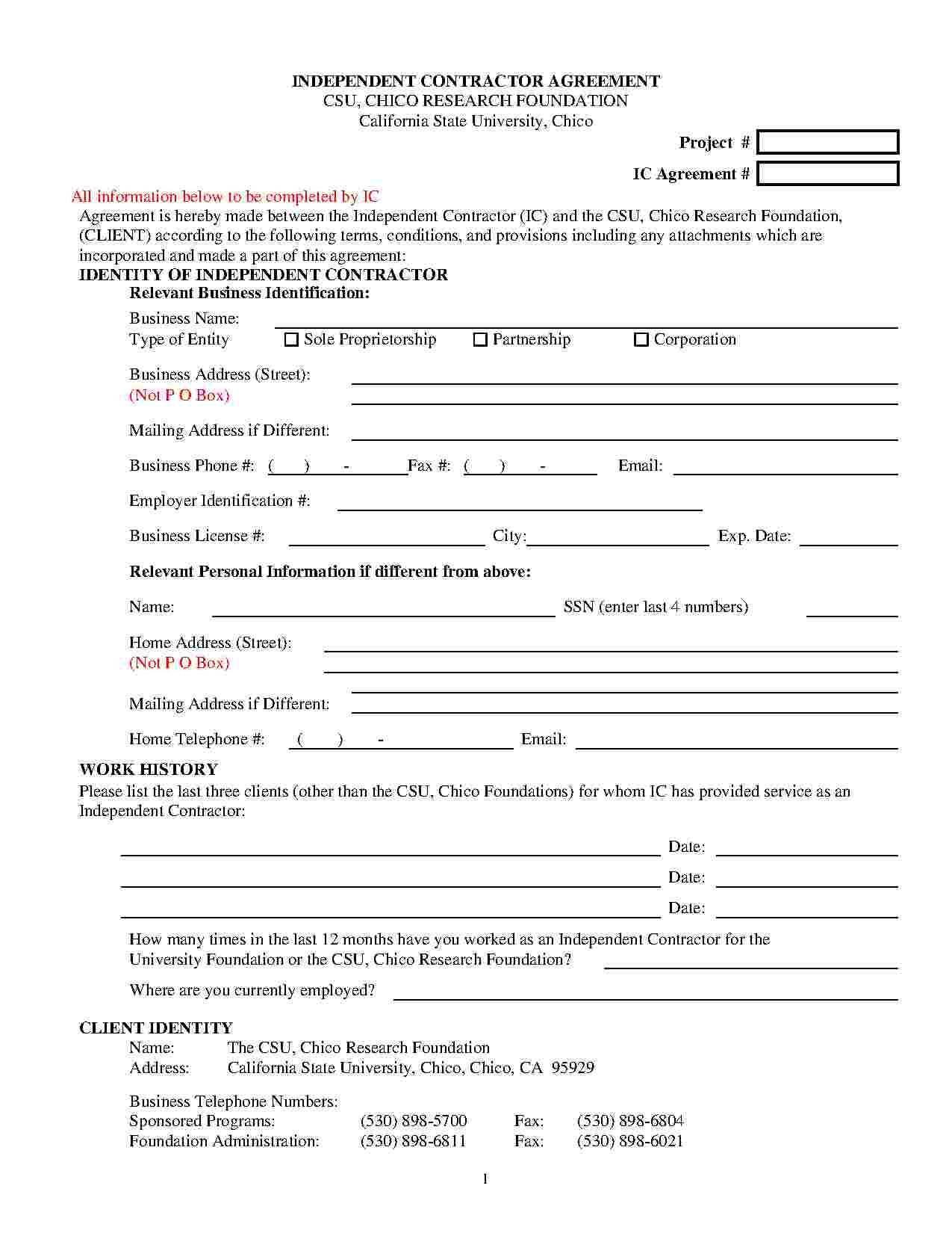Templates Independent Contractor Agreement Templates Hunter