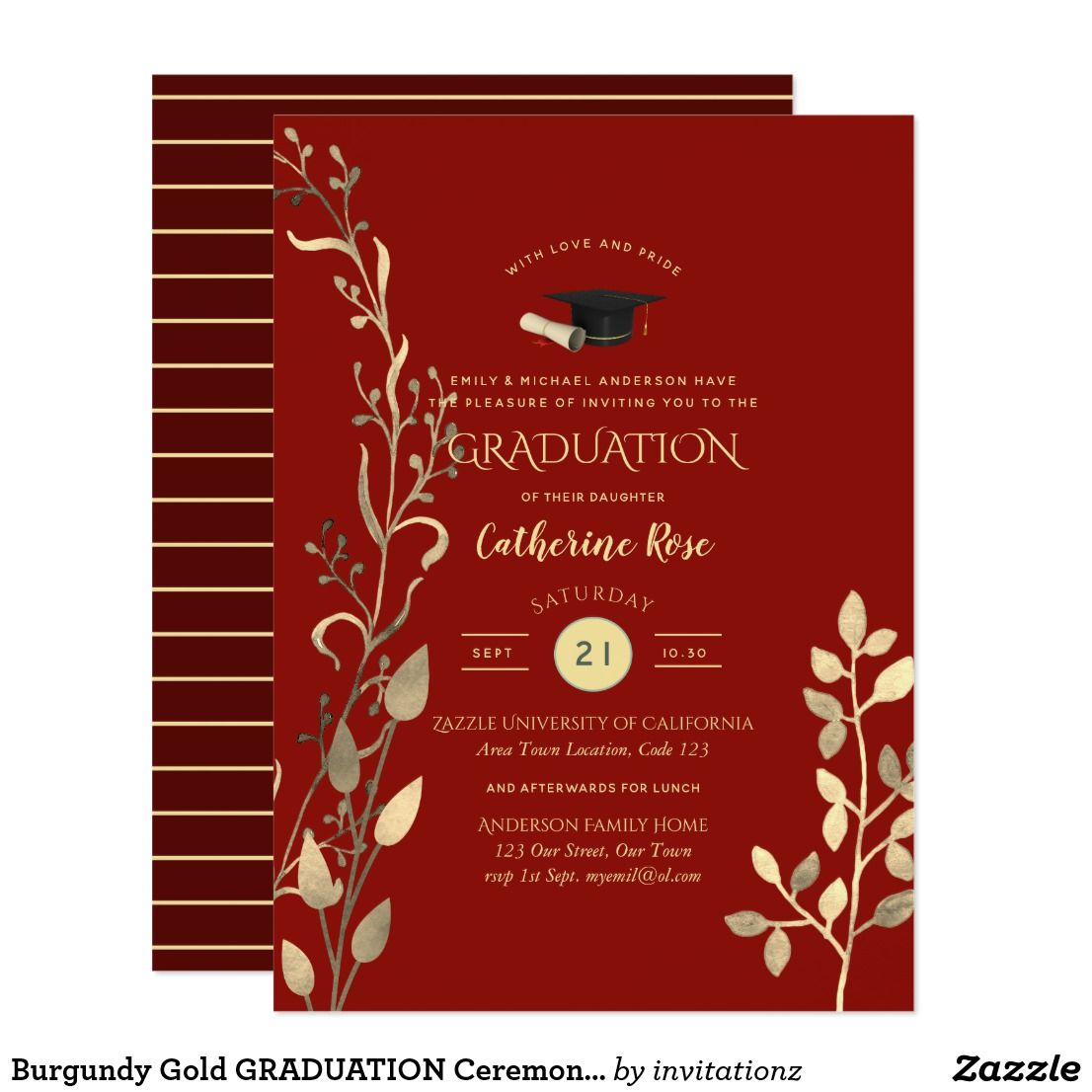Burgundy Gold GRADUATION Ceremony Party Invitation | Gift Ideas ...