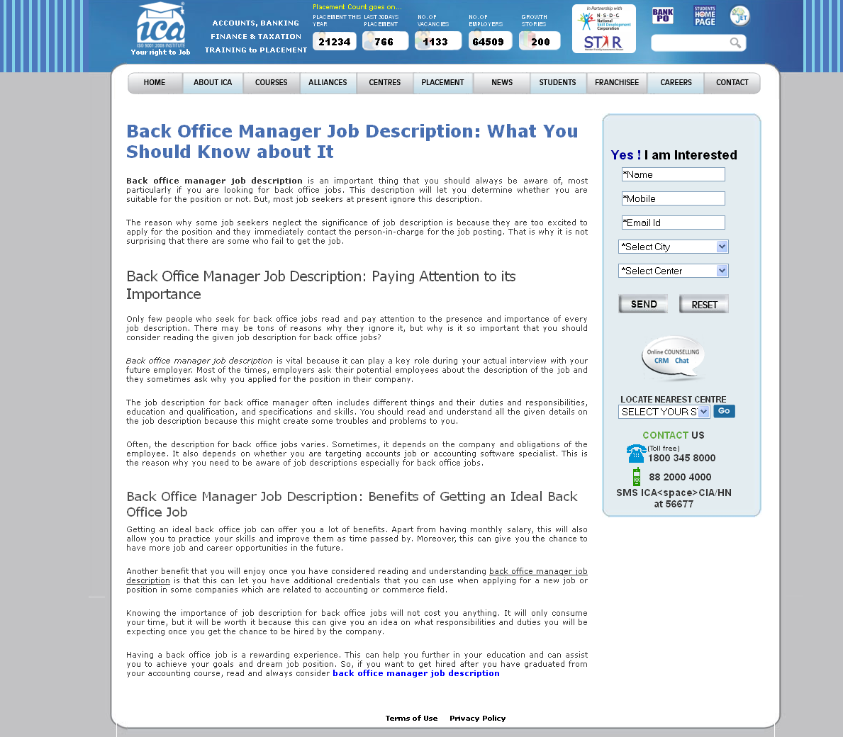 Back office manager job description is an important