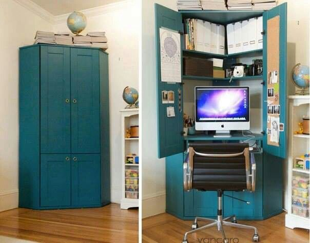 Hidden Office Nook In A Cupboard Corner Workstation Small Home Offices Home Office Cabinets