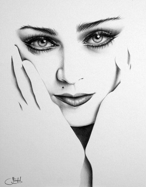 Madonna Fine Art Pencil Drawing Portrait Print Hand Signed Etsy Portrait Drawing Pencil Portrait Pencil Drawings