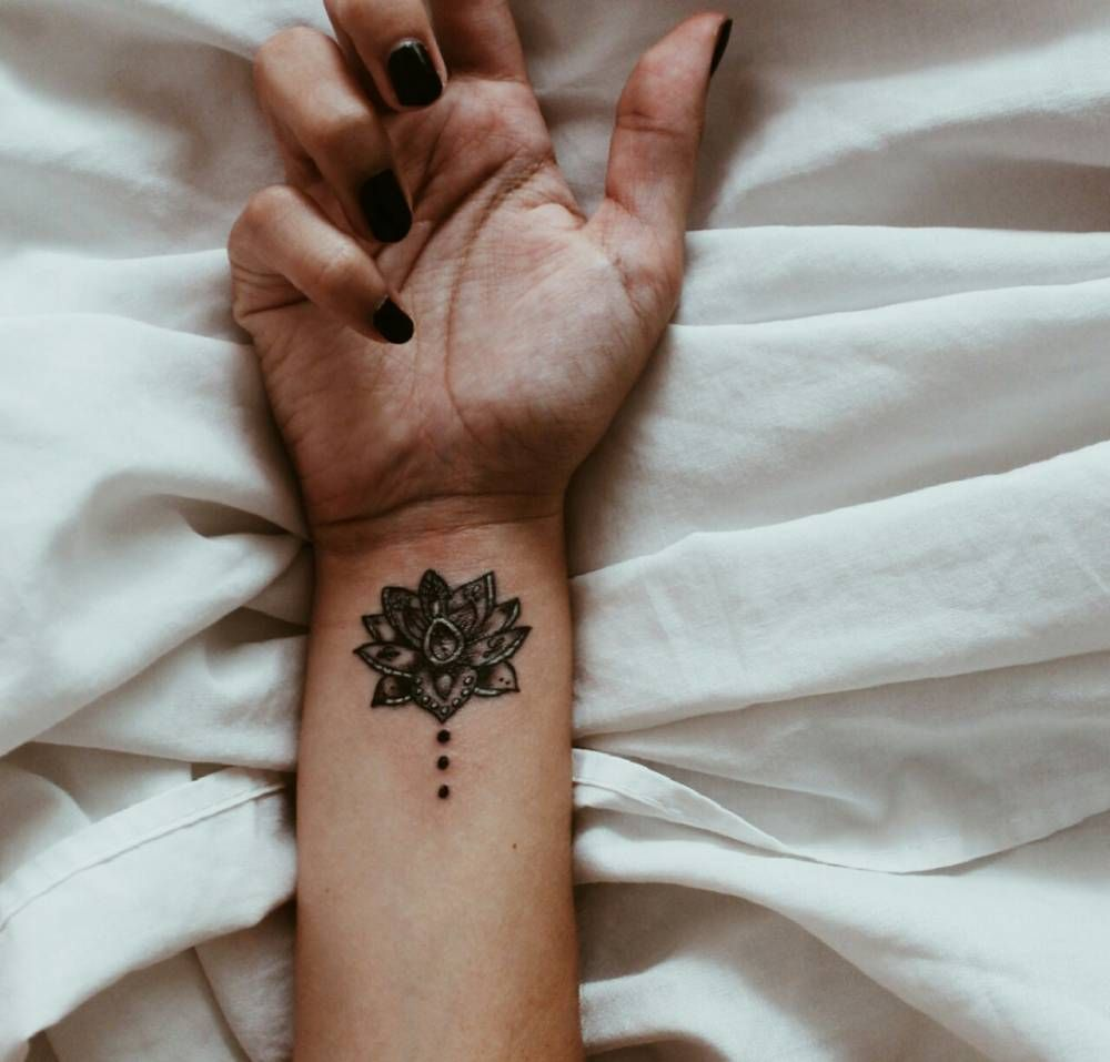 Henna Flower Tattoo Designs Wrist: Lotus Tattoo On The Right Inner Wrist.