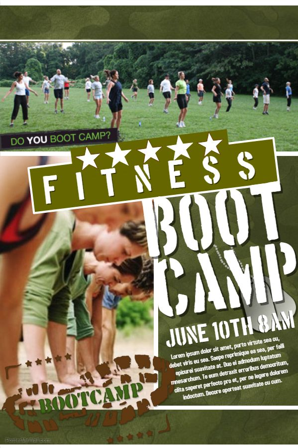 Fitness Boot Camp Advertisement Poster Flyer Social Media Graphic