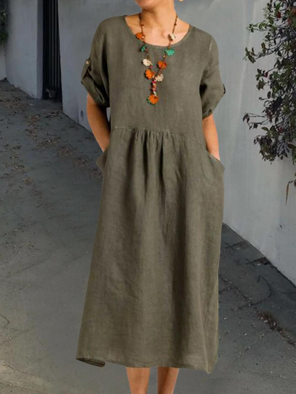 Solid Pockets Midi Dress 3 4 Sleeve Dresses Dresses Solid Pockets Midi Dress 3 4 Sleeve Dresses Justfashionnow In 2021 Midi Dress Sleeves Dresses [ 1333 x 1000 Pixel ]