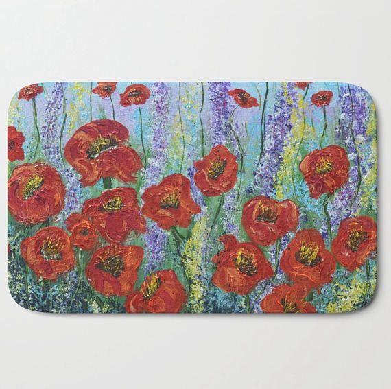 Red bath mat floor rug poppy flowers bathroom rug bathmats red bath mat floor rug poppy flowers bathroom rug bathmats mightylinksfo