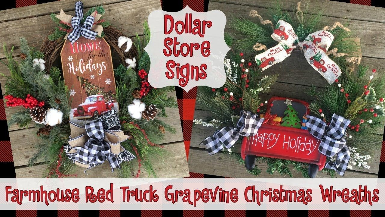 Little Red Truck Farmhouse Grapevine Wreaths Dollar Store Signs Christmas Dec Grapevine Christmas Dollar Tree Christmas Decor Country Christmas Decorations