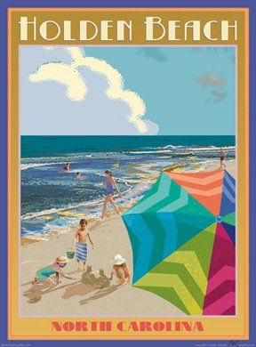 Amazon.com: Holden Beach North Carolina Art Deco Stlye Vintage Travel Poster by Aurelio Grisanty: Everything Else