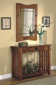 Mission Style Entry Way Foyer Console Table Mirror Set By Coaster