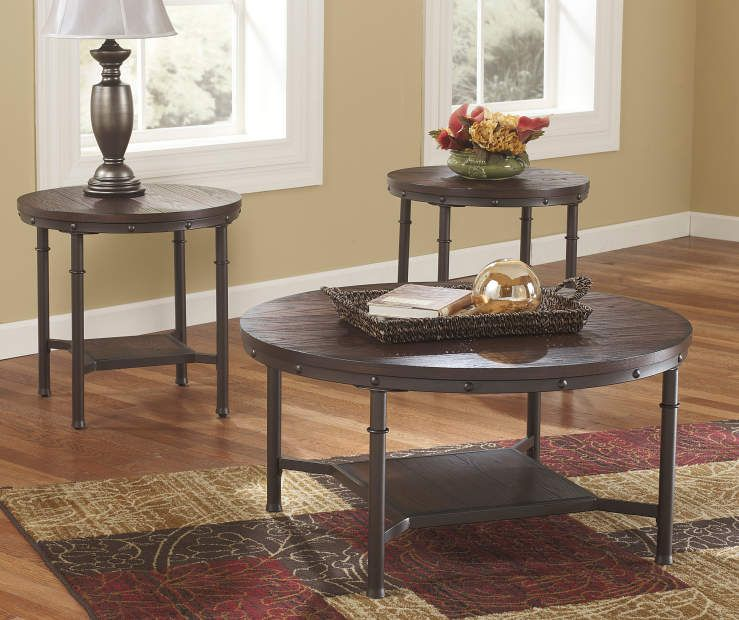 Signature Design By Ashley Sandling Rustic 3 Piece Occasional Table Set Big Lots Living Room Sets Coffee