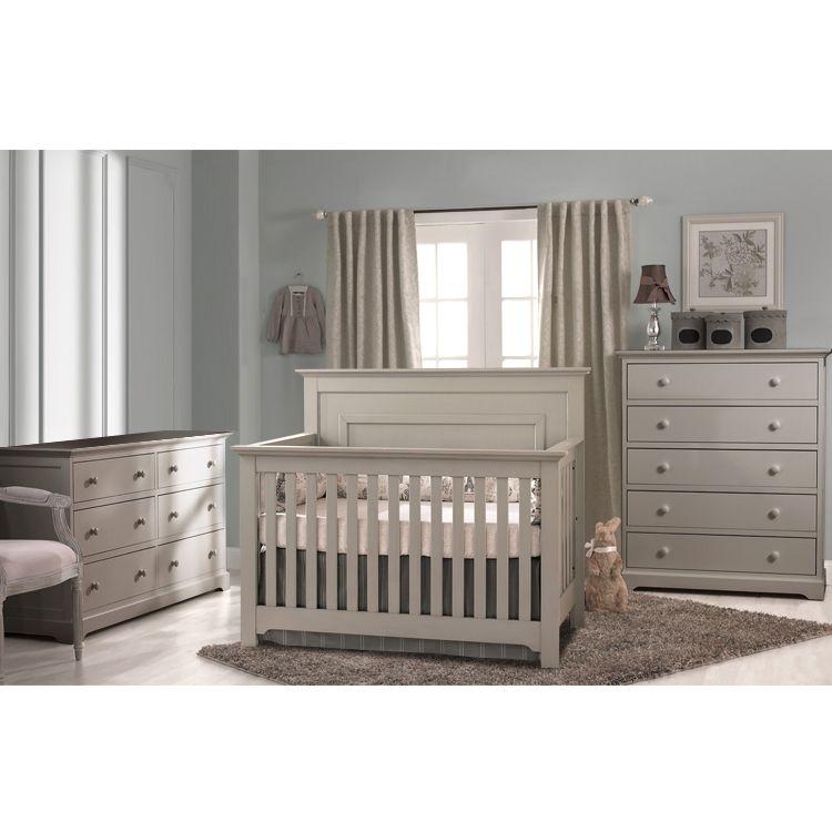 Munire Chesapeake Convertible Crib In Light Grey Nursery