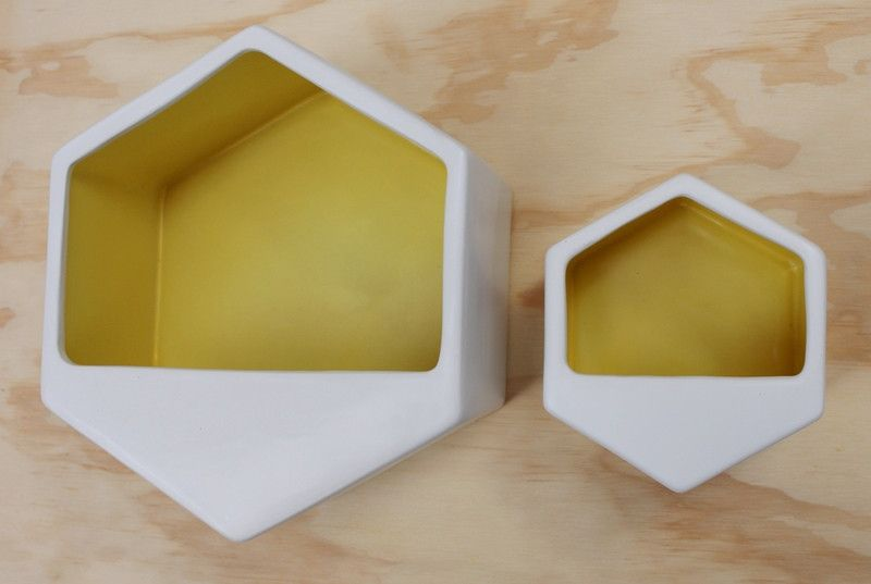 Hexagon wall hung planter - Yellow | Collected by LeeAnn Yare ...