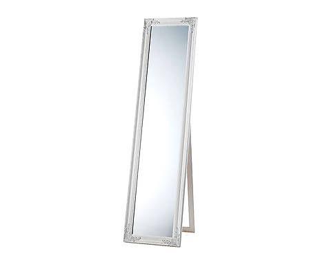 Espejo de pie con marco de madera blanco 40x160x5 cm for Espejos con marco de madera blanco