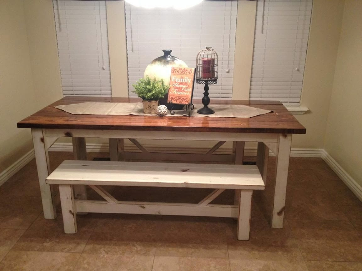 White Brown Farm Kitchen Table With Bench