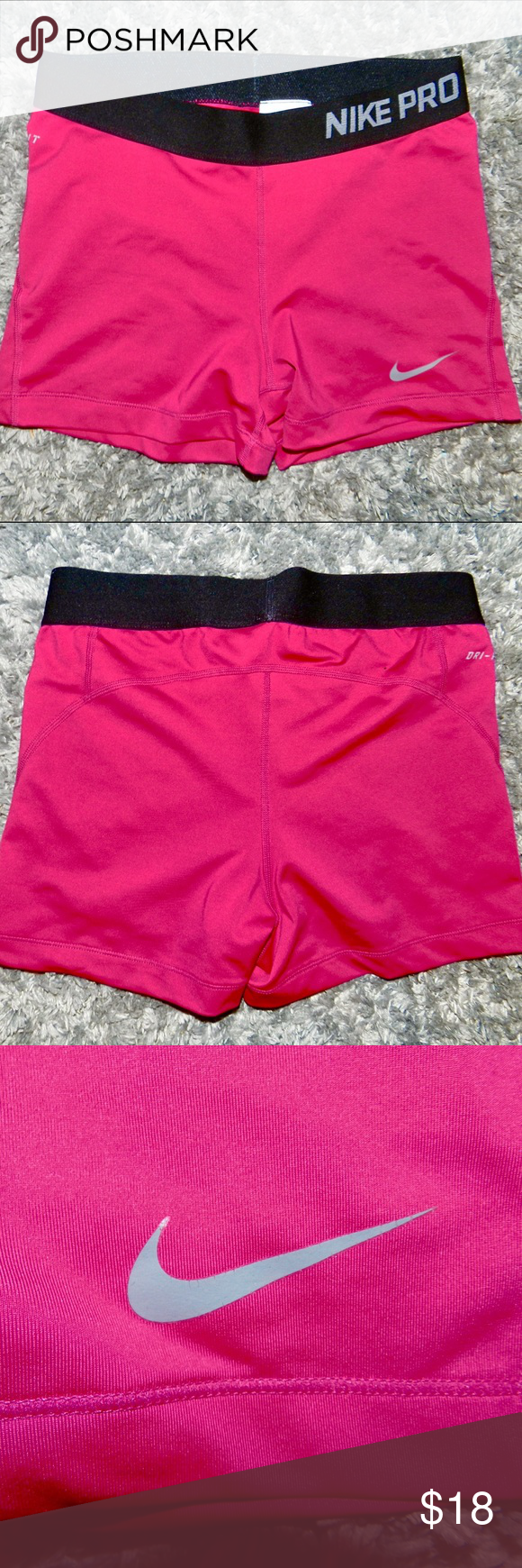 NIKE Pro Shorts Pink Size Medium Used Nike Pro Shorts in pink!! These babes are in great condition with almost no signs of wear. Nike Shorts