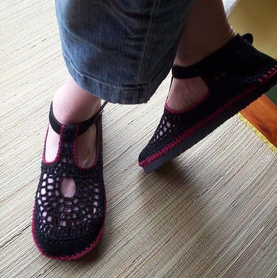 Mary Jane crochet SHOES - Black and Wine Red - CUSTOM MADE ...