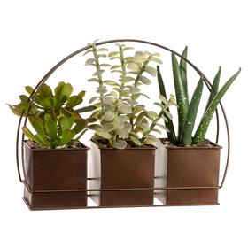 """9"""" Succulent Garden Mix Silk Plant w/Tin Pot (pack of 6) - LPS370-GR"""