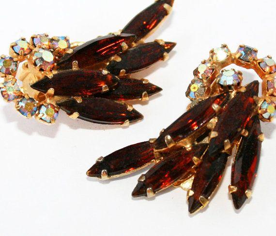 Juliana D&E Vintage Rootbeer Rhinestone Earrings by wimpyren