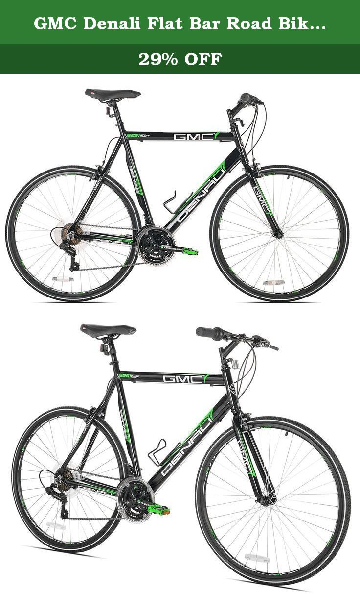 Gmc Denali Flat Bar Road Bike 700c Black Green Medium 57cm Frame The Gmc Denali 700c 21 Speed Road Bike Is B Road Bike Frames Flat Bar Road Bike Bike Frame