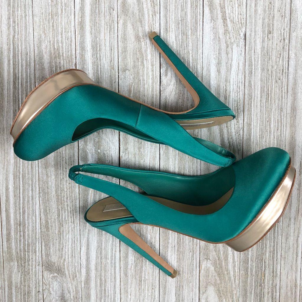 BCBGMaxAzria Shoes | Bcbg Mazazria Satin Slingbacks | Color: Blue/Green | Size: 8.5