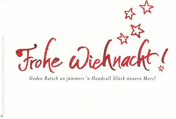Frohe Weihnachten Plattdeutsch.Wiehnachtsgluckwunsch Postkort Platt Snacken