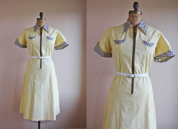 47c1dae9b539 1940s Dress - Vintage 40s Diner Dress - Butter Chocolate Gingham Waitress  Uniform Dress XL - Sunny Side Up