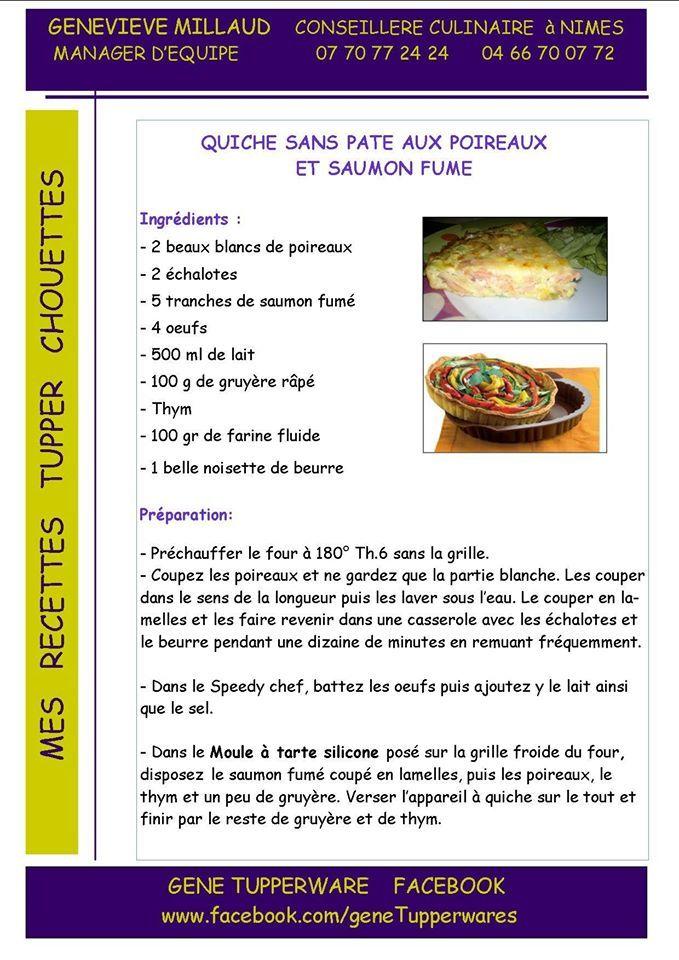 Quiche Sans Pâte Tupperware : quiche, pâte, tupperware, Quiche, Pâte, Poireaux, Saumon, Fumé, Recettes, Cuisine,, Recette, Tuperware,