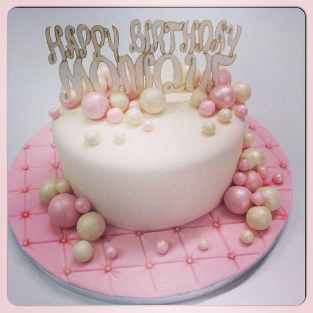 happy birthday monique Happy Birthday Monique!!   white and pink birthday cake   pearls  happy birthday monique