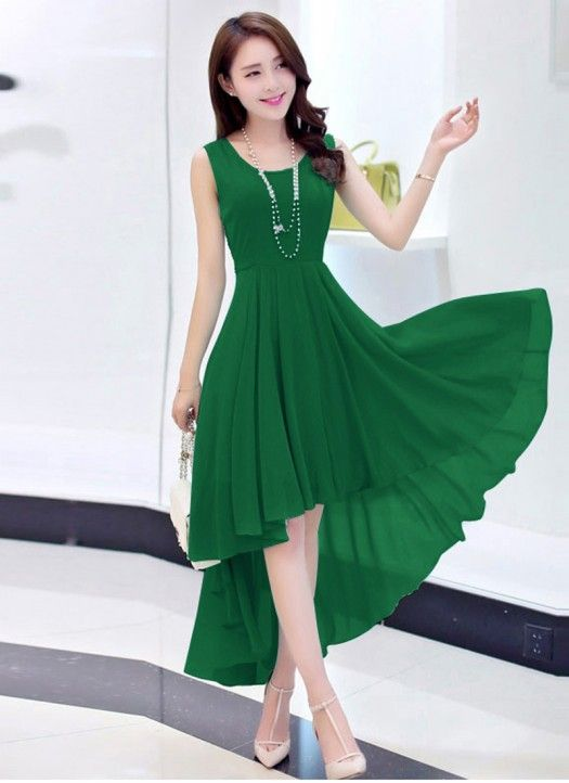 Latest Green Georgette Western Dress Western Dresses