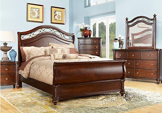 Best Laurel View Cherry 5 Pc King Sleigh Bedroom Rooms To Go 400 x 300