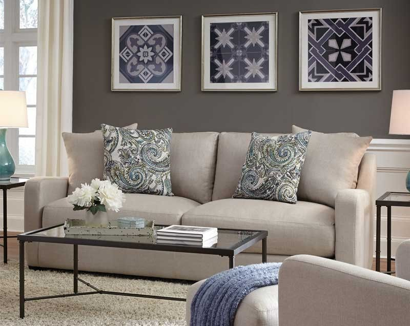 Franklin Furniture Haven Stationary Sofa In Soft Taupe 88540
