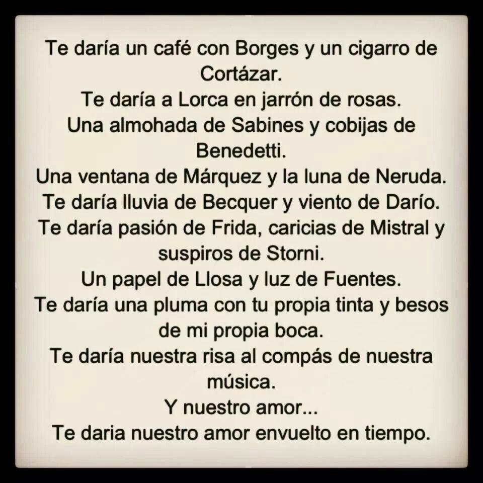 Te dara café con Borges un cigarro y Cortázar Te dara Lorca envuelto en Frases De AmorPalabras