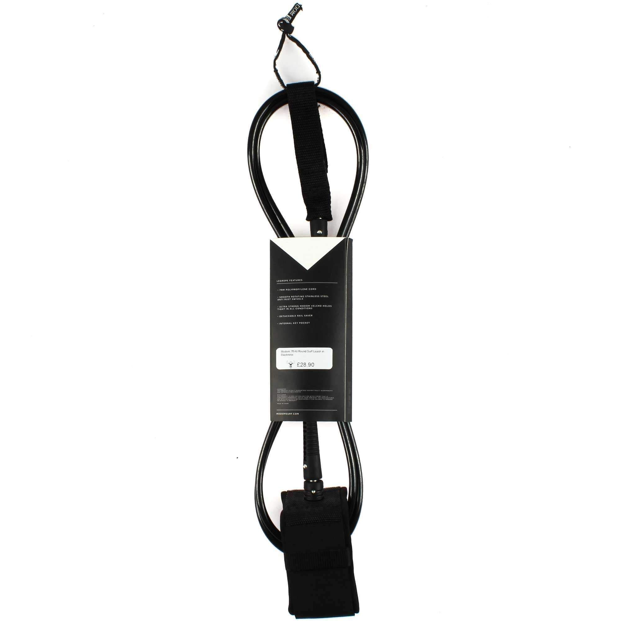 Modom 7ft All Round Surf Leash In Blackness Surf Leashes Surfing Leashes