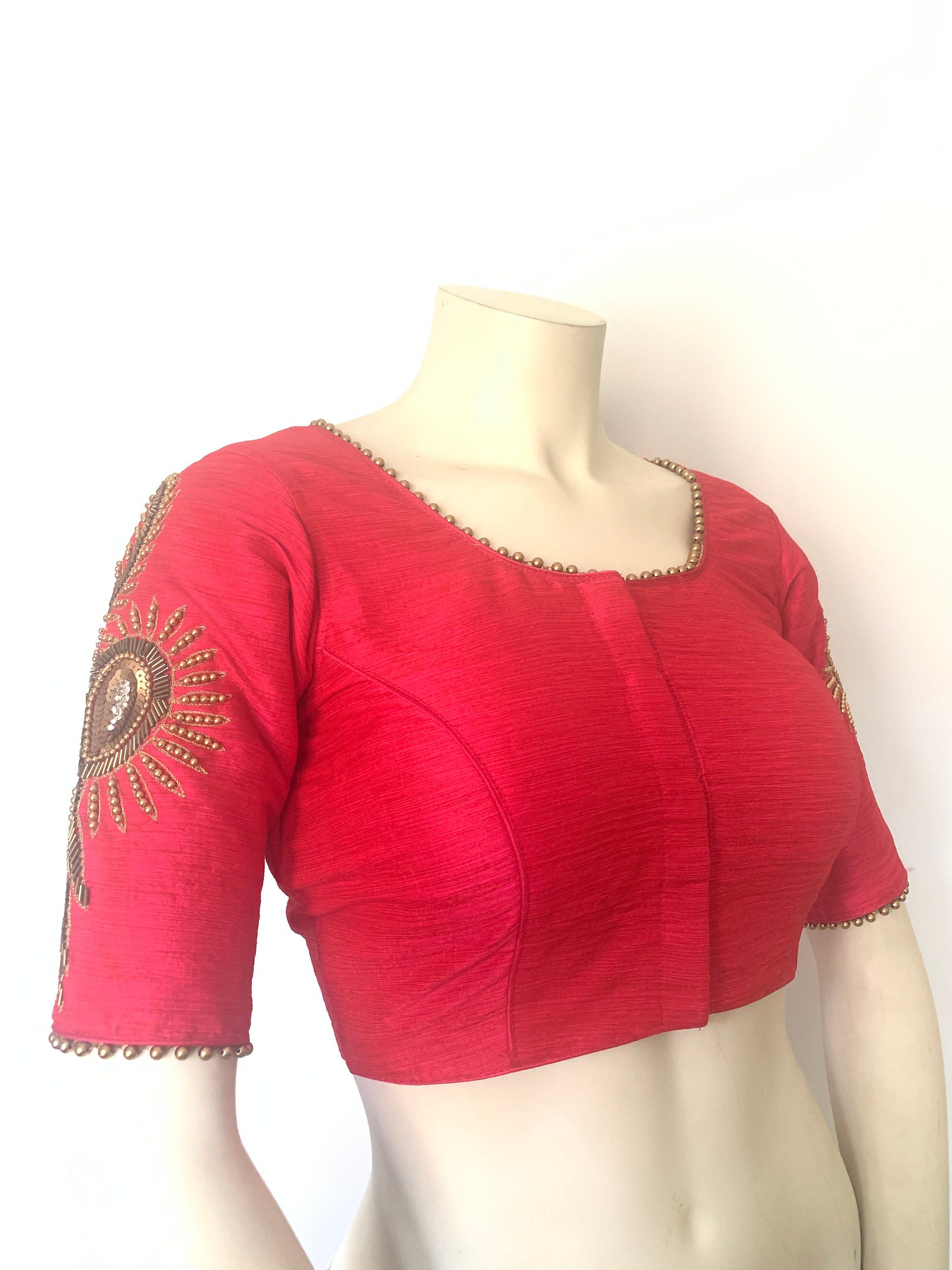 Free Shipping Sari Blouse Readymade Designer Saree Blouse Size 36 Stitched Indian Blouse for Women