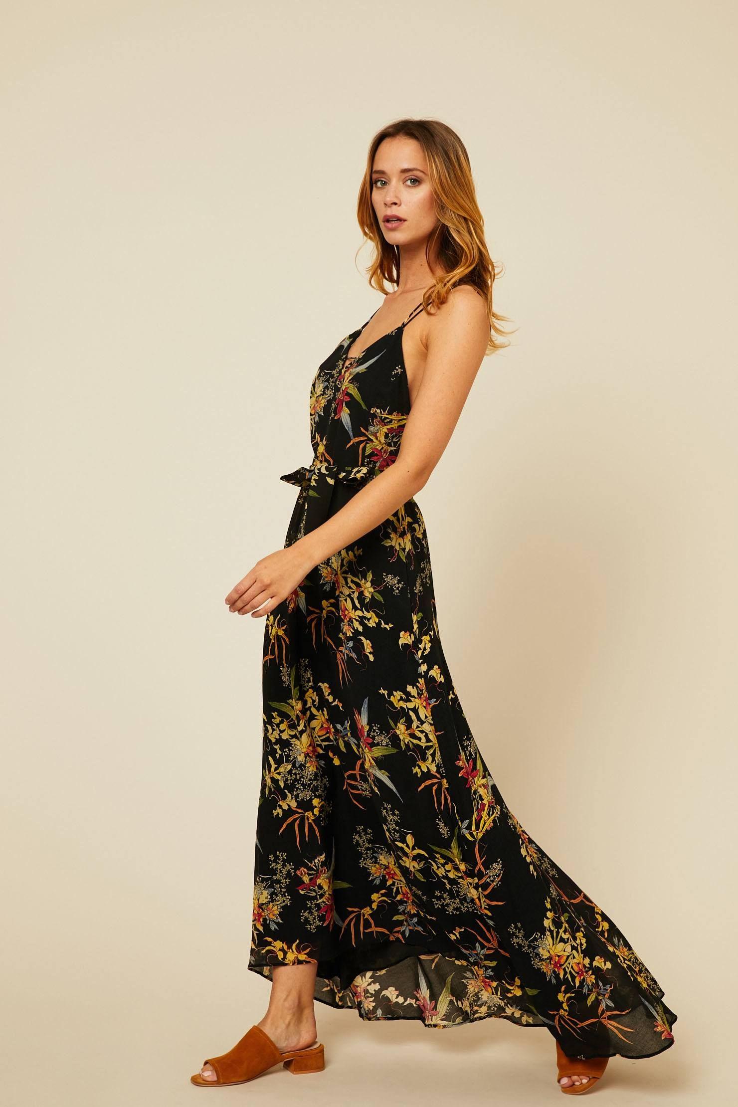 Ikks Women Robe Longue En Voile Imprime Floral Noir