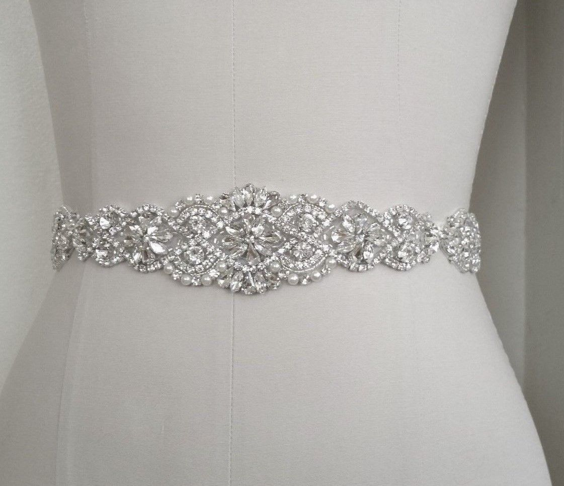 Wedding Bridal Sash Belt Crystal Pearl Wedding Dress Sash Belt In