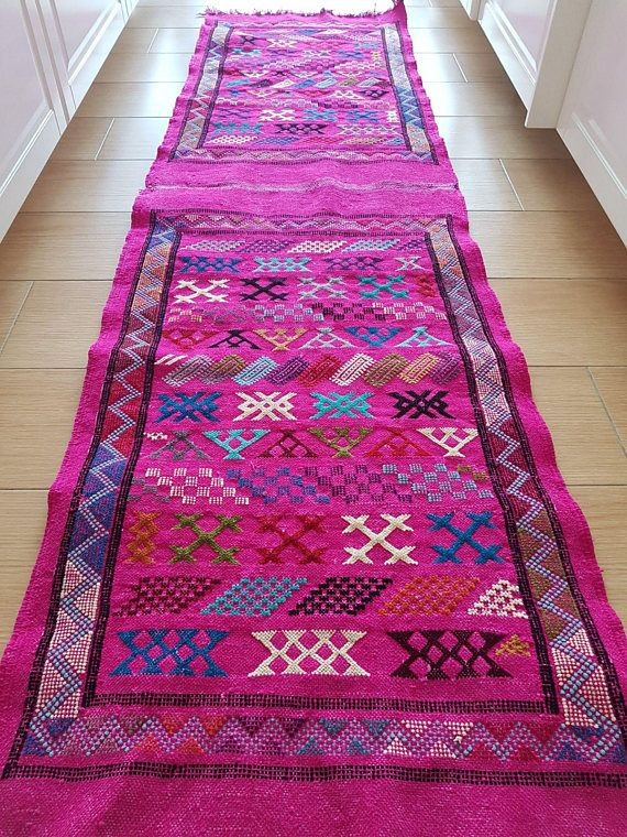 Laia Vintage Hot Pink Runner With Berber Details Moroccan Vintage Rugs Galley Style Kitchen Hot Pink